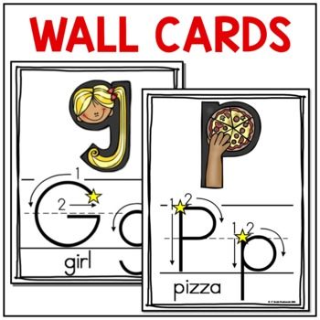 Alphabet Wall Cards & Center Cards (Traditional Print with Instructional Arrows)
