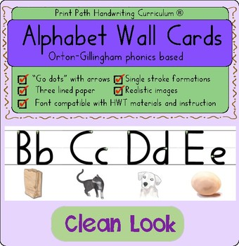 Alphabet Wall Cards: Orton-Gillingham phonics based. Single stroke formations.