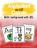 Alphabet Wall Cards White with ASL
