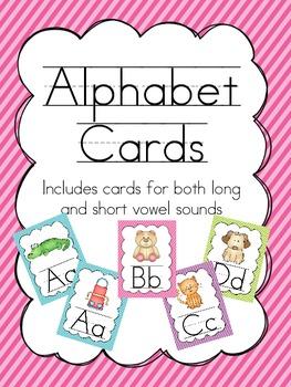 Alphabet Wall Cards {diagonal stripe}