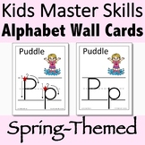 Alphabet Wall Cards for Spring with Handwriting Instructio