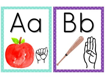 Alphabet Wall Cards with ASL and Keyword Pictures