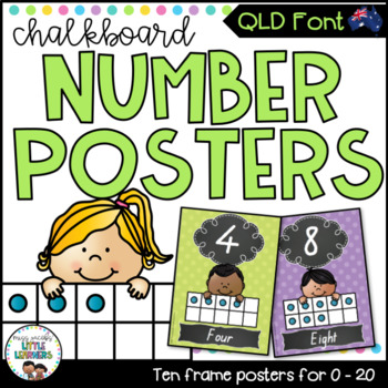 QLD Font Number Posters {Chalkboard}