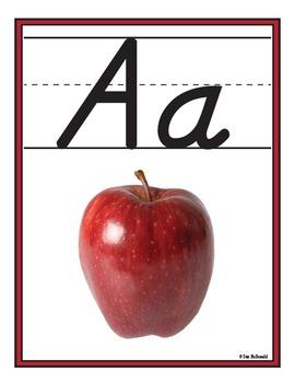 Alphabet Wall Charts - 26 D'Nealian Manuscript Posters- High Quality Graphics