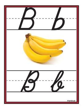 Alphabet Wall Charts - D'Nealian Manuscript AND Cursive Alphabet-High Quality