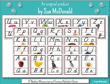 Alphabet Wall Charts - D'Nealian Manuscript AND Cursive Alphabet-High Quality