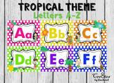 Alphabet Wall Letters Tropical Theme Colorful Polka Dots Uppers and Lowers