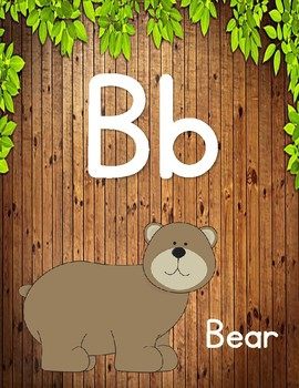 Alphabet Wall Posters: Animals/Wooden Set