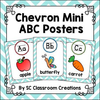 Mini Alphabet Posters (Teal Chevron)