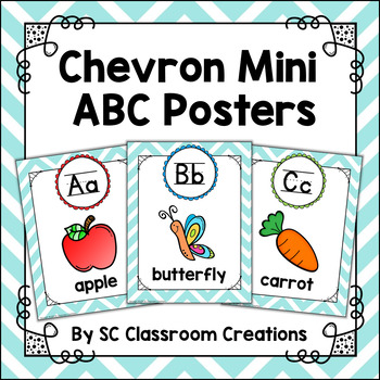 Mini Alphabet Posters (Teal Chevron)-Classroom Decor