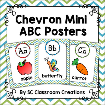 Chevron Mini Alphabet Posters (Blue and Green)-Classroom Decor