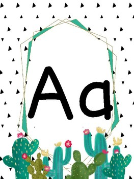 Alphabet Wall Posters (Cactus Classroom Decor) in Print