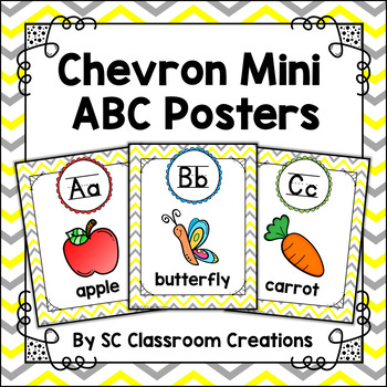 Mini Chevron Alphabet Posters (Yellow and Gray)-Classroom Decor