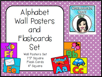 Alphabet Wall Posters and Flashcards Set - Bright Primary Colors