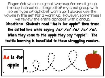 Alphabet Warm Ups - Finger follows for sounds