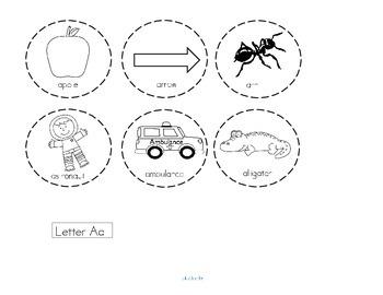 Alphabet Beginning Sounds Cut and Paste Webs