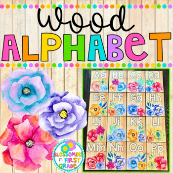 Alphabet {Wood and Watercolor Flowers}
