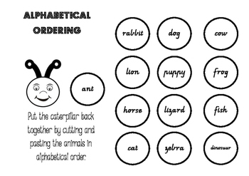 Alphabet Word Ordering Caterpillar