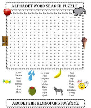 Alphabet Word Search Puzzle (26 Words)
