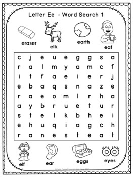 Alphabet Word Search Puzzles Letter E