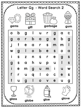 Alphabet Word Search Puzzles Letter G