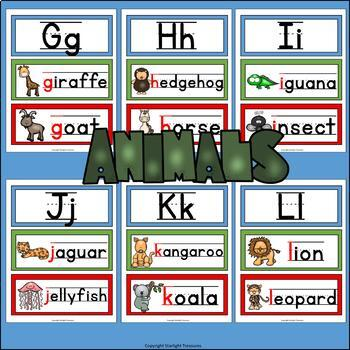 Alphabet Word Wall - Animal Theme - A-Z Word Wall