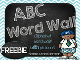 Alphabet Word Wall Blue and Chalkboard