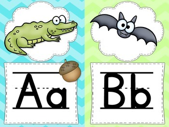 Chevron Alphabet Word Wall Cards, Charts & Digraph Cards with handwriting lines