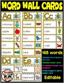 Alphabet Word Wall Cards- EDITABLE- 418 WORDS