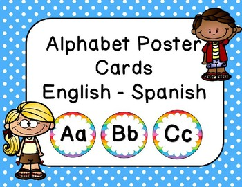 Alphabet Word Wall Cards - English & Spanish