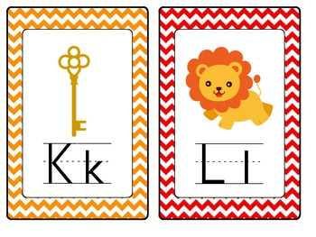 Alphabet Word Wall Cards with Chevron theme