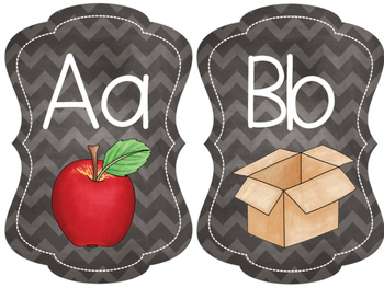 Alphabet & Word Wall: Chalkboard/Chevron