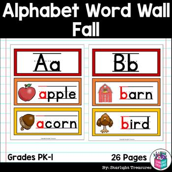 Alphabet Word Wall - Fall Theme - A-Z Word Wall