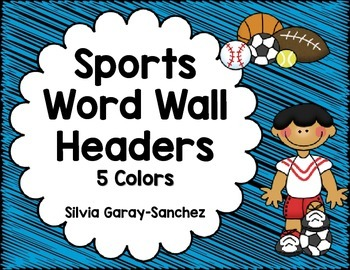 Alphabet Word Wall Header Cards in a Sports Theme