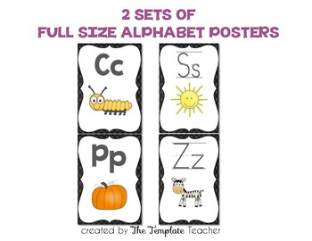 Alphabet, Word Wall Headers & Numbers Posters Set {Chalkboard}