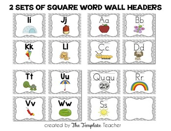 Alphabet, Word Wall Headers & Numbers Posters Set {Gray Chevron}