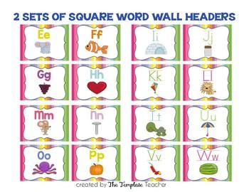 Alphabet, Word Wall Headers & Numbers Posters Set {Rainbow}