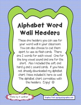 Alphabet Word Wall Headers (Rainbow Edition)