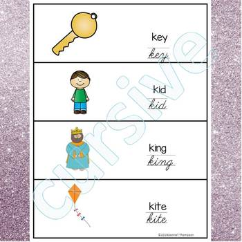 Alphabet Word Wall: Letter K (Cursive Writing Cards)