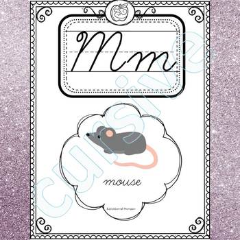 Alphabet Word Wall: Letter M (Cursive Writing Cards)