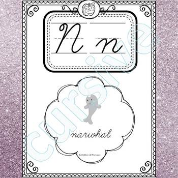 alphabet word wall letter n cursive writing cards by donna thompson