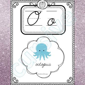Alphabet Word Wall: Letter O (Cursive Writing Cards)
