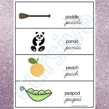 Alphabet Word Wall: Letter P (Cursive Writing Cards)