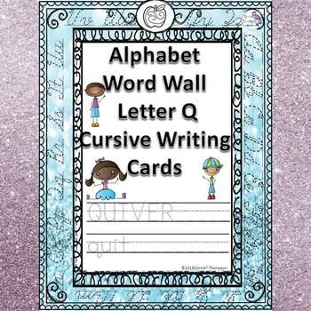 Alphabet word wall letter q cursive writing cards by donna thompson alphabet word wall letter q cursive writing cards expocarfo Choice Image