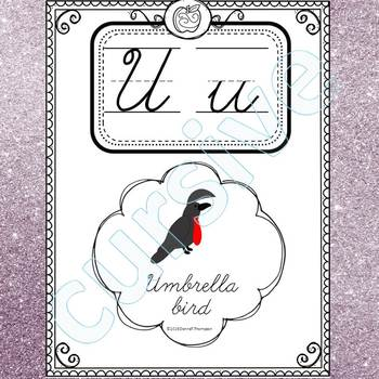 Alphabet Word Wall: Letter U (Cursive Writing Cards)