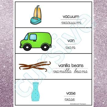 Alphabet Word Wall: Letter V (Cursive Writing Cards)