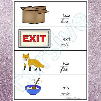 Alphabet Word Wall: Letter X (Cursive Writing Cards)