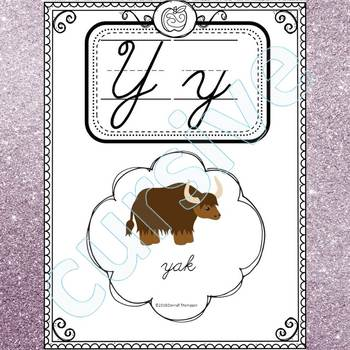 Alphabet Word Wall: Letter Y (Cursive Writing Cards)