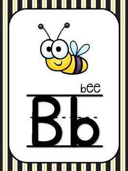 Alphabet Word Wall Letters: Busy Bee