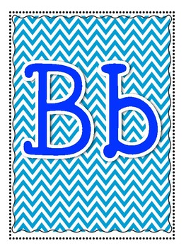 Alphabet and Word Wall Poster Printables in Teal Blue Aqua Chevron Pattern